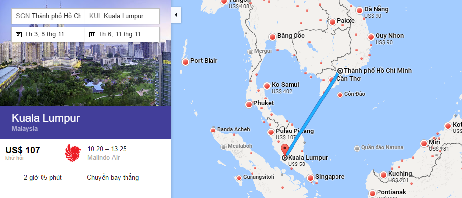Bản đồ đường bay từ Hồ Chí Minh đi Kuala Lumpur