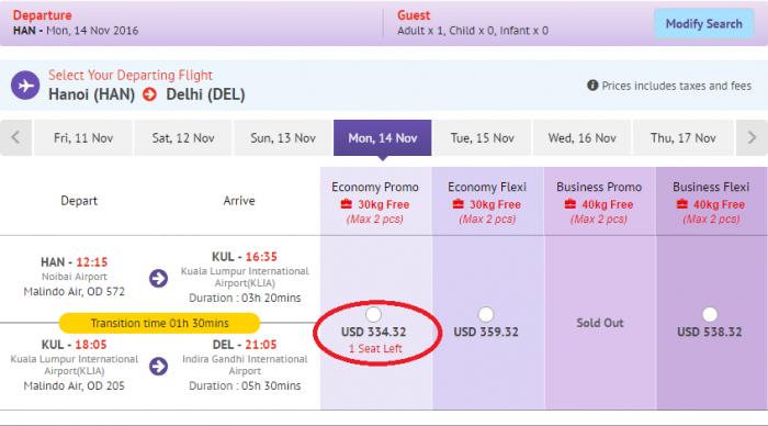 Bảng giá tham khảo chặng Hà Nội đi New Delhi (Ấn Độ)