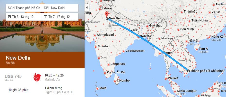 Bản đồ đường bay từ Hồ Chí Minh đi Delhi