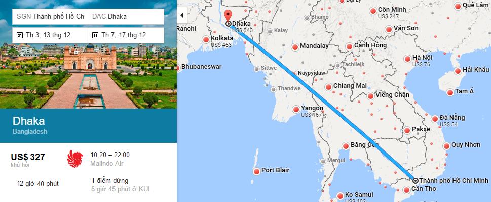 Bản đồ đường bay từ TP Hồ Chí Minh đi Dhaka