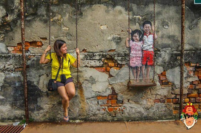 Nghệ thuật tranh tường 3D ở phố cổ George Town - Penang