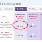 Bảng giá tham khảo chặng HCM - Kuala Lumpur (Malaysia)