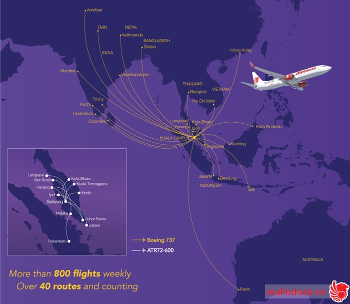 Sơ đồ đường bay Malindo Air tính đến tháng 12/2015