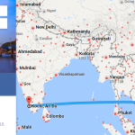 Bản đồ đường bay từ HCM đi Kochi