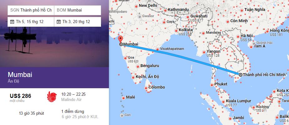 Bản đồ đường bay từ HCM đi Mumbai