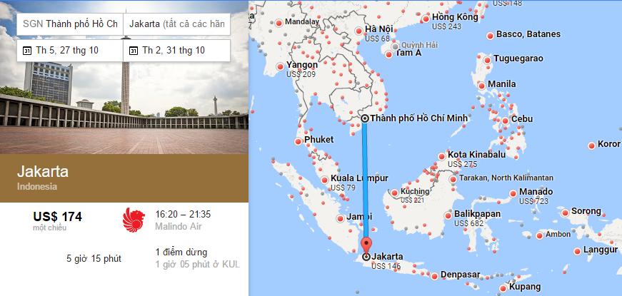 Bản đồ đường bay từ HCM đi Jakarta