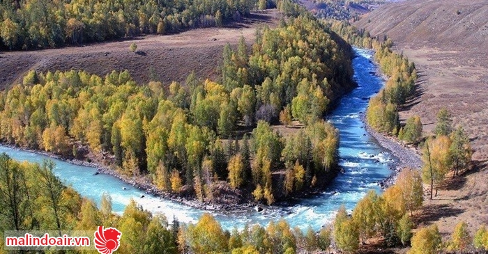 Vùng núi Burqin trù phú, tốt tươi như một khu sinh thái