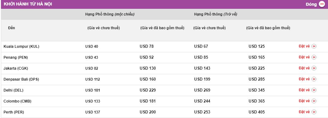 bảng 2 giá vé sale 30% của Malindo Air