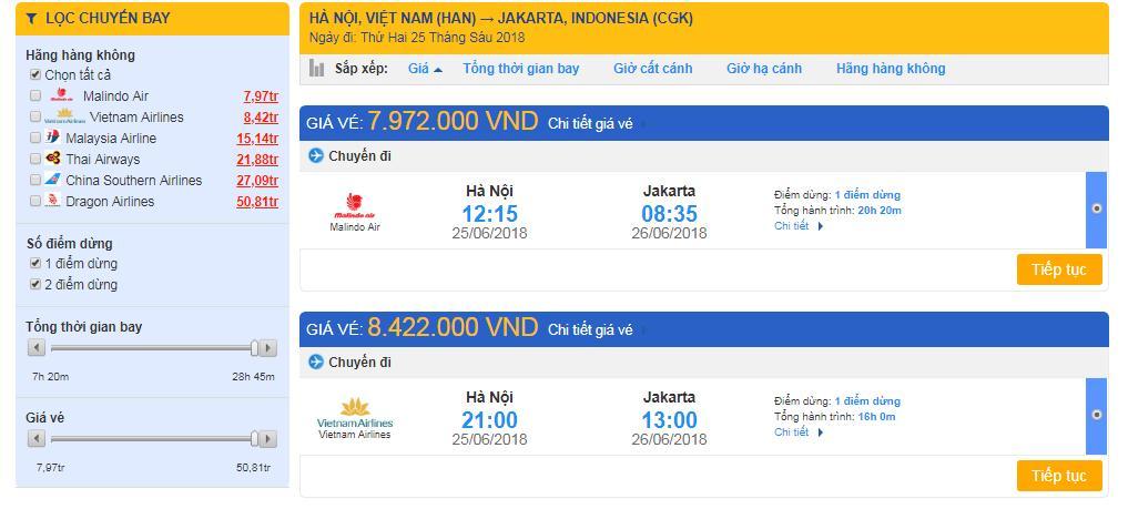 Chọn chuyến bay với thời gian, hãng bay và giá vé phù hợp