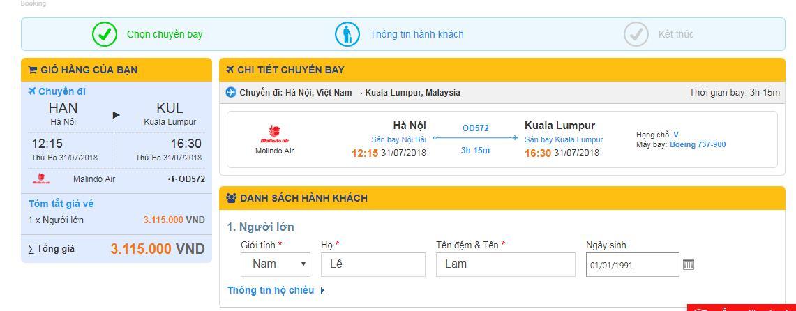 Điền thông tin những hành khách bay đi Malaysia