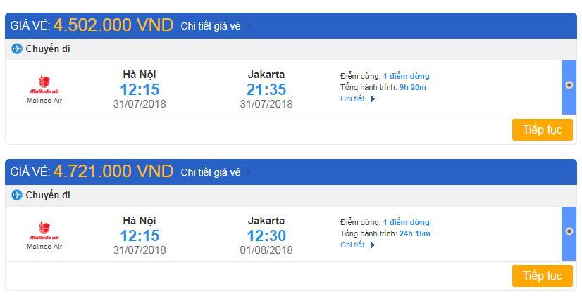 Bảng giá vé máy bay đi Indonesia từ Việt Nam