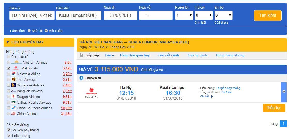 Lựa chọn vé máy bay đi Malaysia phù hợp