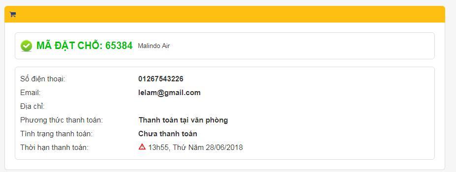Mã đặt chỗ và trạng thái thanh toán vé đi Malaysia