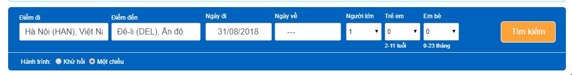Giá vé máy bay tháng 8 từ Hà Nội đi Delhi Ấn Độ
