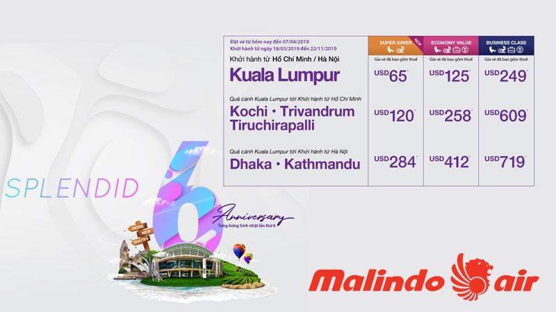 Vé khuyến mãi chỉ từ 65$ từ Malindo Air
